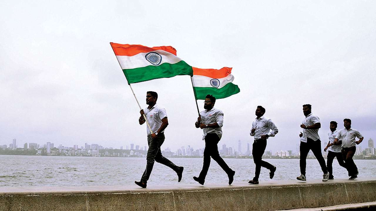 marine drive on 73rd independence day of india